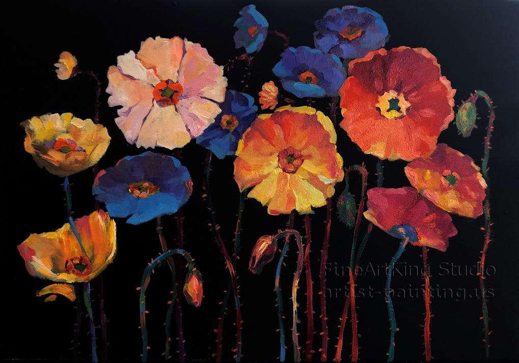 Колоритен цветя на черен фон