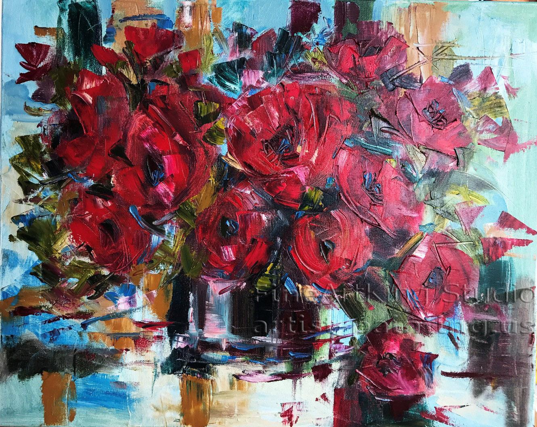 Червени цветя